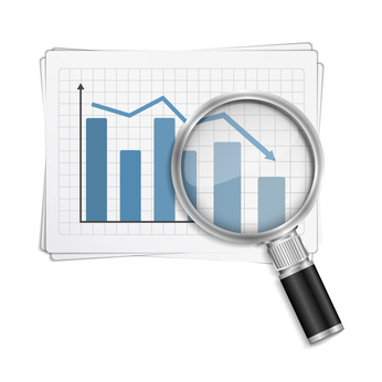 Bar graph with magnifying glass, vector eps10 illustration